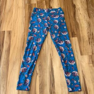 LuLaRoe Blue Flower Leggings